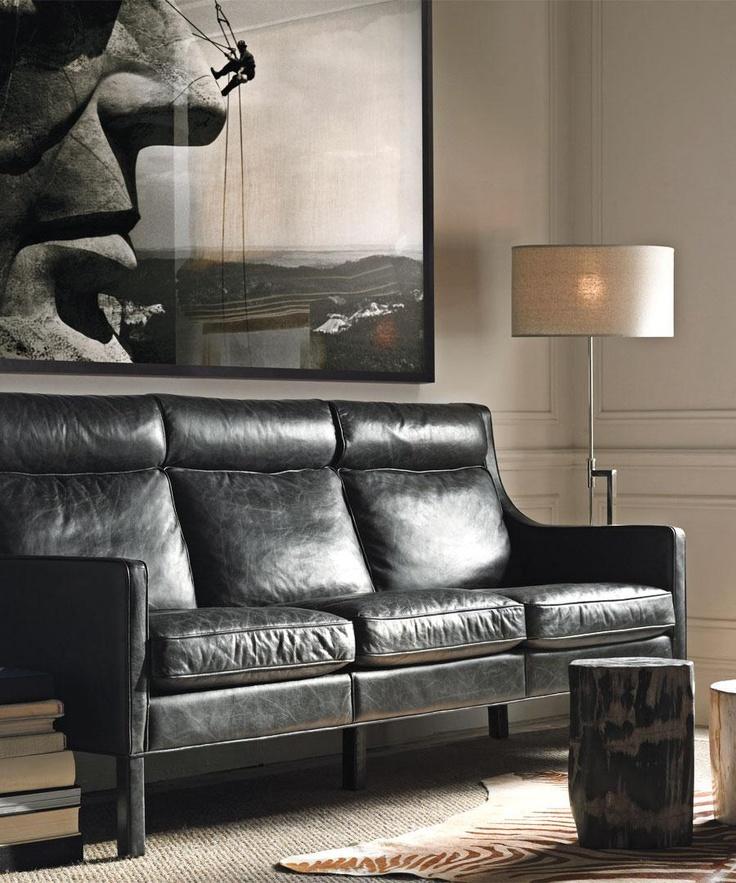 leather sofa restoration hardware leather sofa pinterest