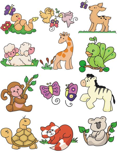 Baby animal embroidery designs machine and