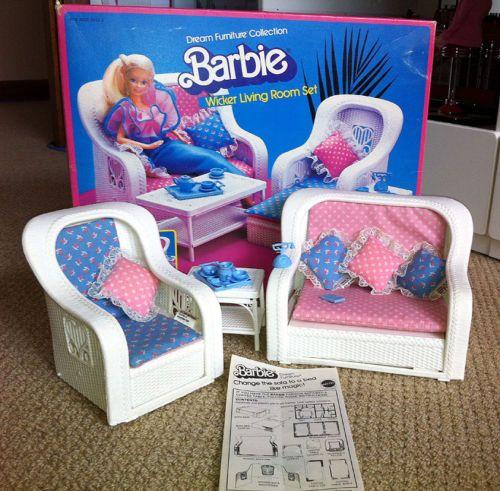 Vintage 1983 Barbie Dream Furniture Wicker Living Room Set In Orig Box