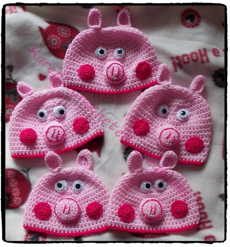 My free styled version of Peppa Pig hats crochet: baby ...