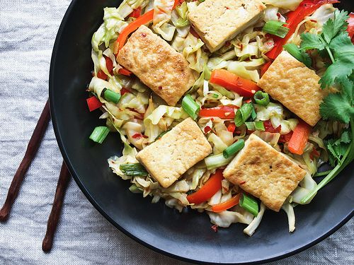 Spicy Stir-Fried Cabbage, Tofu and Red Pepper + Soy Awareness by Julie ...