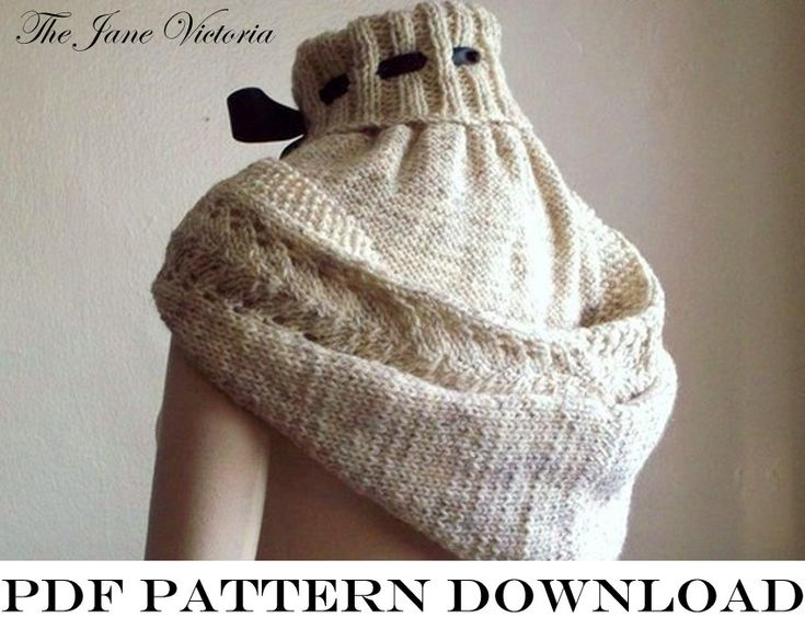 Hooded Cowl Knit Pattern : Hooded Cowl Knitting PATTERN, Alasse Miriel, PDF DOWNLOAD