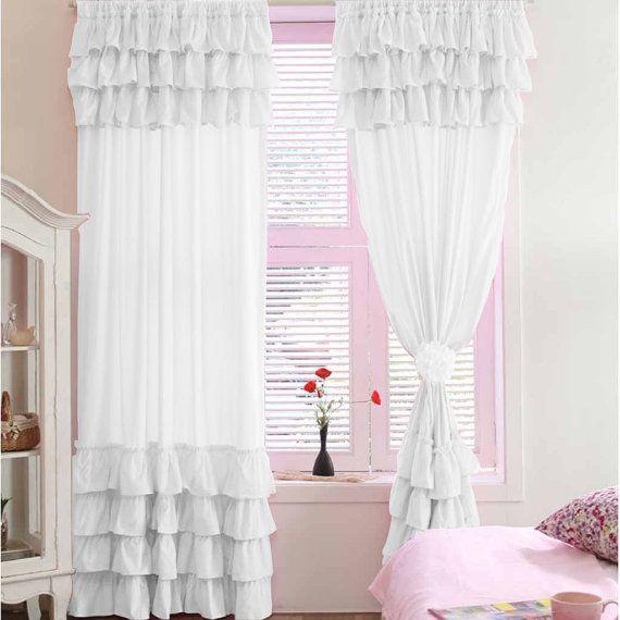 White Ruffle Blackout Curtains 84 Inch White Ruffle Shower Curtain Curtain Menzilperde Net
