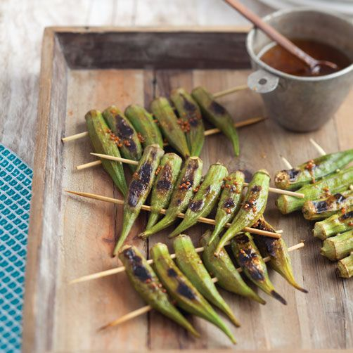 Grilled okra with spicy soy dipping sauce. Throw this okra on the ...
