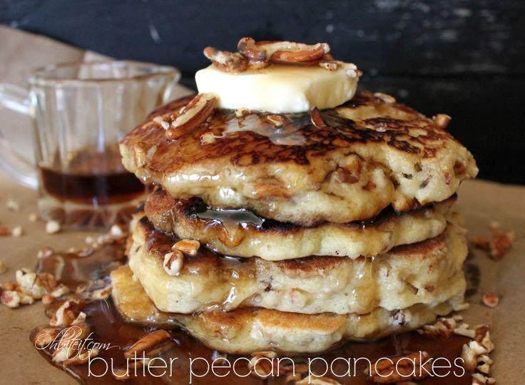Butter Pecan Pancakes! | Oh Bite It | BREAKFAST | Pinterest