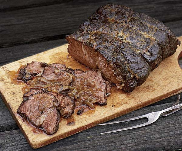 Barbecue-Braised Bourbon Beef with Mustard Glaze | Recipe