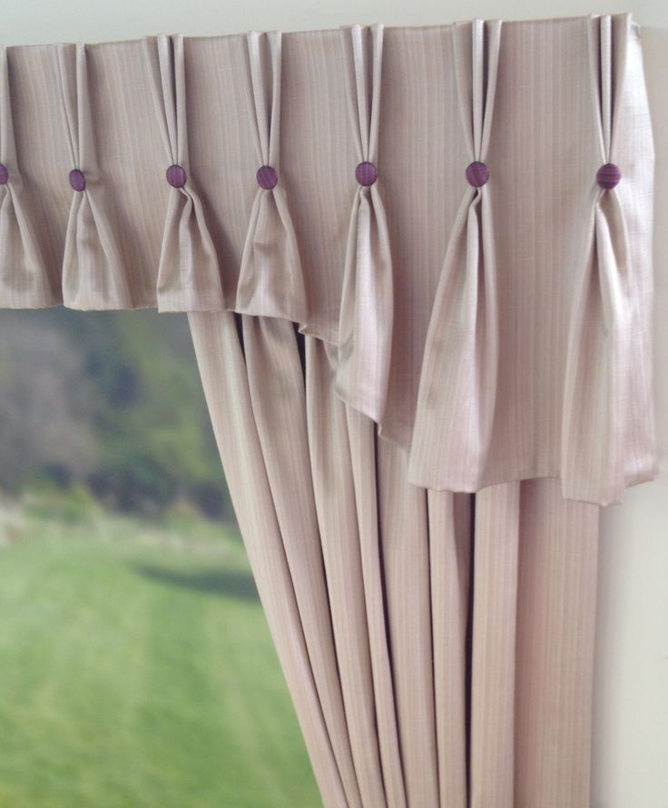 Shaped Pinch Pleat Curtain Valance with Buttons | Curtain n ...