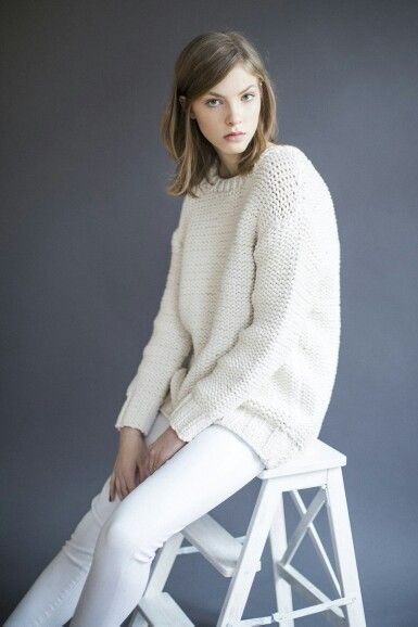 Winter white oversized sweater and jeans