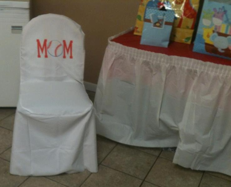 mom to be baseball baby shower themed chair for the present table