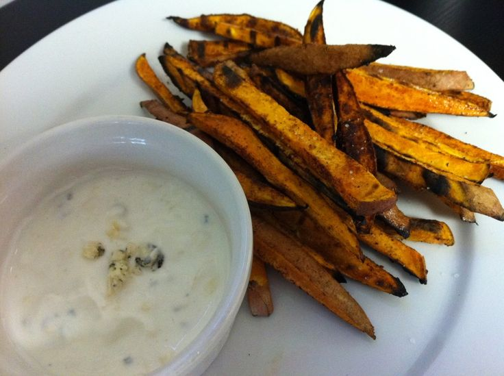 Spiced Sweet Potato Fries & Blue Cheese Dip! -- No Bleu Cheese for me ...