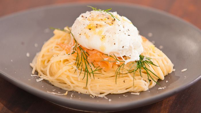 Angel hair pasta with poached egg and smoked salmon...maybe add some ...