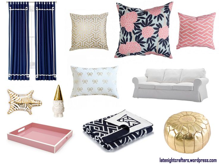 Pin by tifani black on home pinterest - Pink and gold living room ...