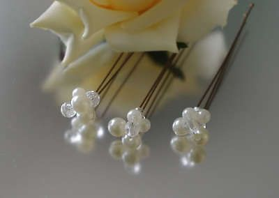 Ivory Pearl Cluster Hair Grips/Pins - Wedding/Bridal