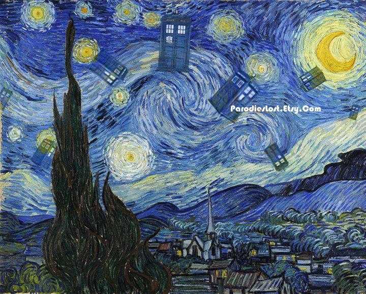 doctor who tardis parody print vincent van gogh starry night