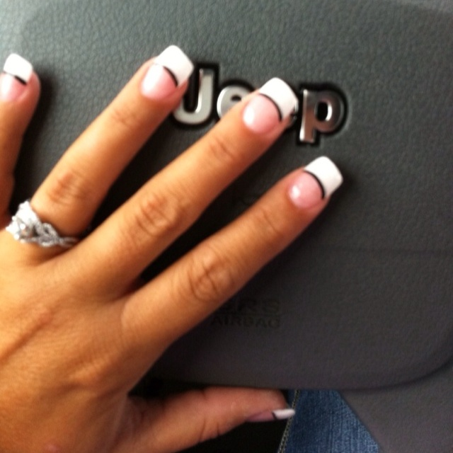 My Nails White Tip Black Line Nail Ideas