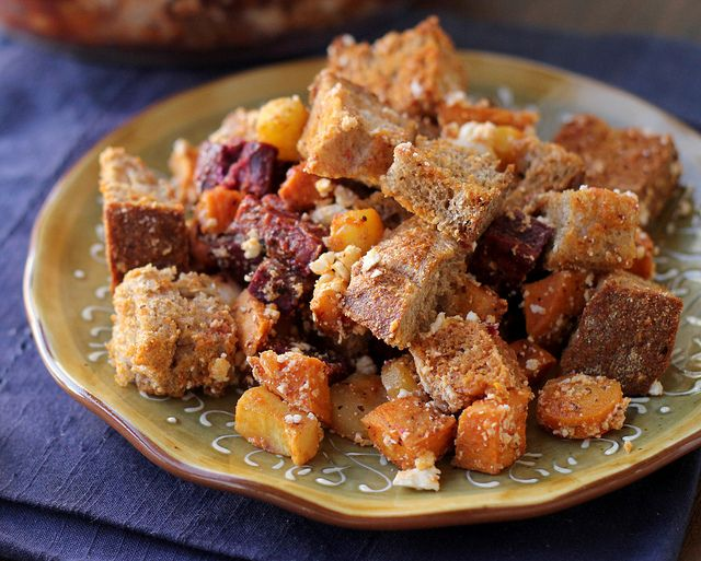 ... Vegetable Panzanella with Roasted Red Pepper Pomegranate Vinaigrette