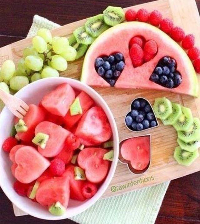 Fruits en cœur pour la saint Valentin