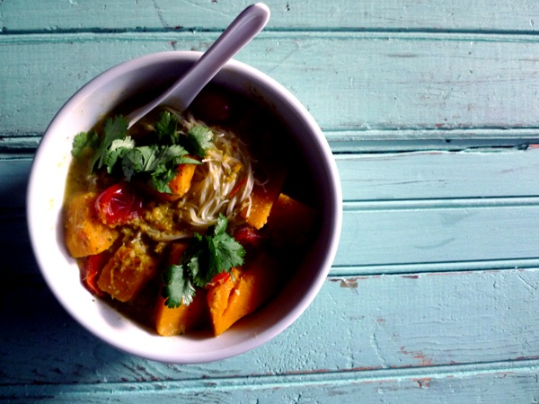Pumpkin and tomato laksa (with rice noodles, ginger, and lemongrass ...