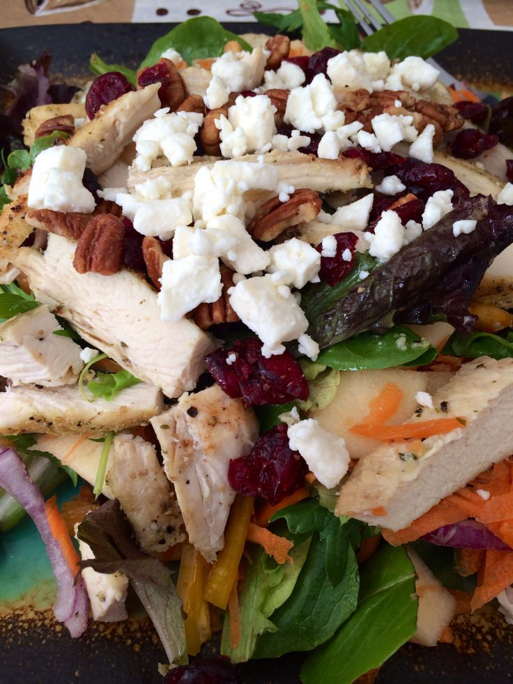 Hearty baby field green salad with grilled chicken, Fuji apples, feta ...
