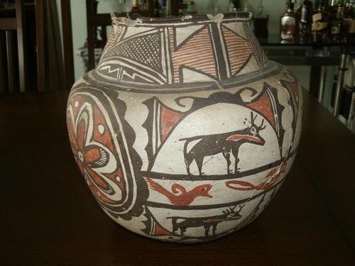 Zuni Olla with Heartline Deer and Waterbird Design |
