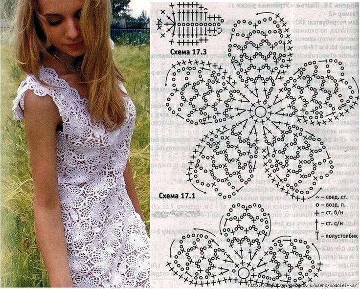 Красивые вязанные крючком платья фото схемы