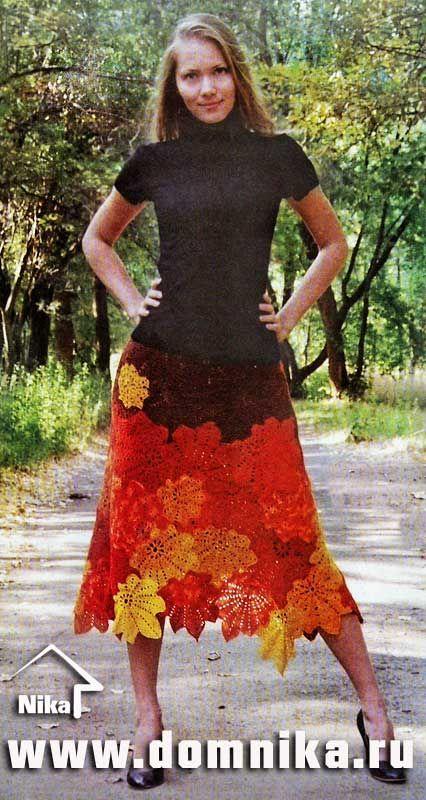 Crochet maple leaves skirt