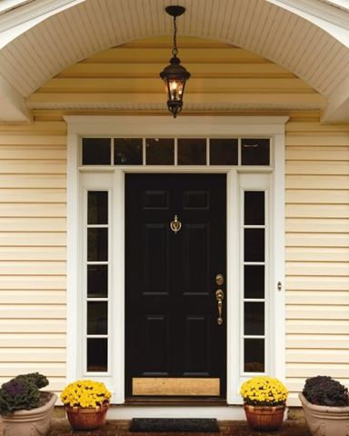 Frontdoor Unique Of White Front Door with Side Lights and Transom Image