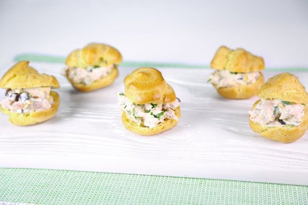 Baby Chicken Salad Puffs by Clinton Kelly. I would substitute dried ...