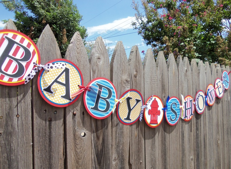 firefighter baby shower banner with fire hydrant fireman in red white