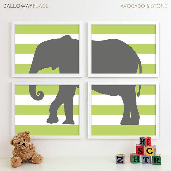 Baby Boy Nursery Art for Boys Room Decor, Baby Boy Gift for Boy, Boys Wall Art for Boy Nursery Decor Playroom Boys Art Elephant - Four 8x10. $50.00, via Etsy.