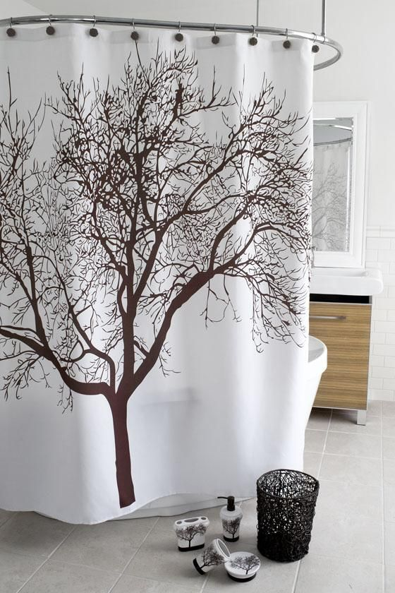 brown tree shower curtain future home pinterest