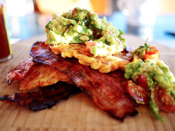 Obsessing over these Sweetcorn Fritters, Crispy Bacon & Guacamole from
