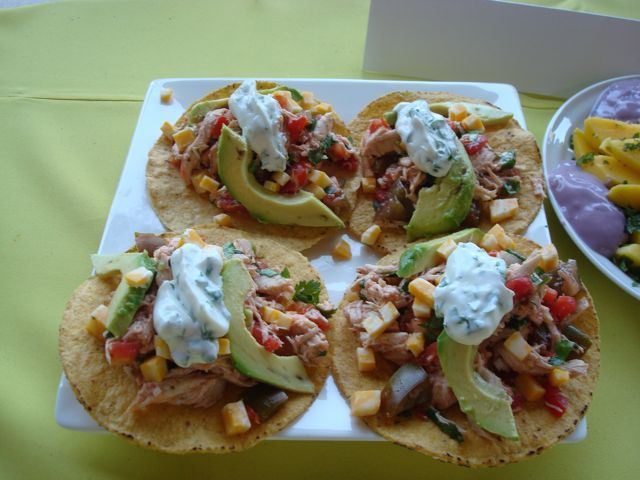 Lime-Chicken Tostadas with Cilantro Sour Cream. Made these the other ...