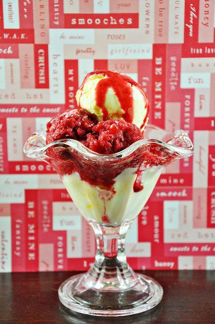 Lemon Ice Cream and Raspberry Granita Sundaes