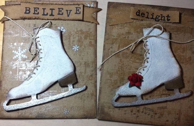 Cards using Tim Holtz ice skates die and kraft resist paper.: pinterest.com/pin/211458144979324332