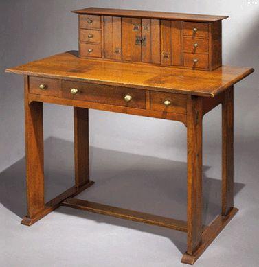 gustav stickley writing desk arts and crafts furniture. Black Bedroom Furniture Sets. Home Design Ideas