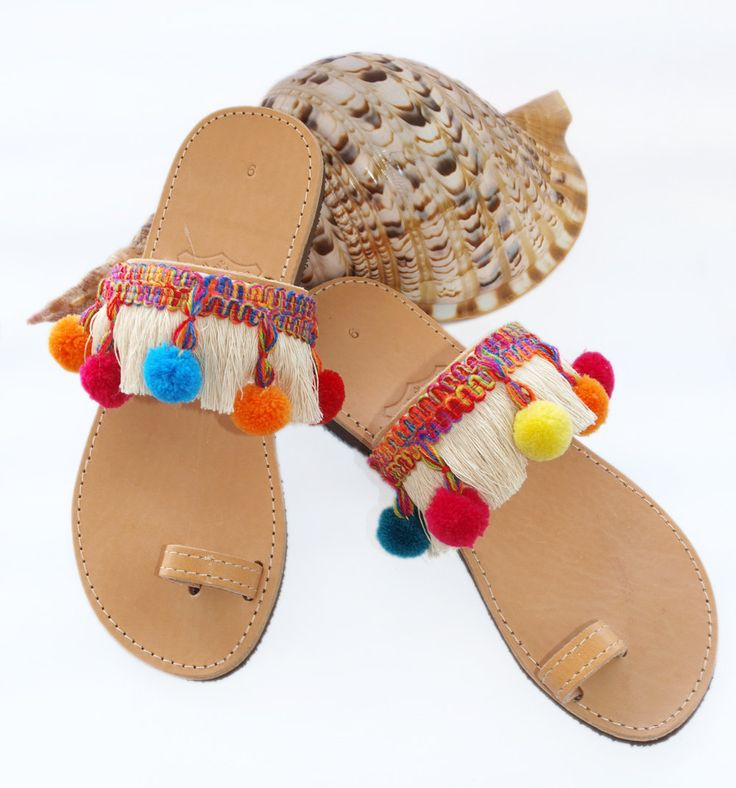Colorful DIY Lace Up Pom Pom Sandals recommendations