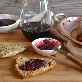 Gluten Free Almond Goat Cheese Scones with Red Wine Cranberry Sauce