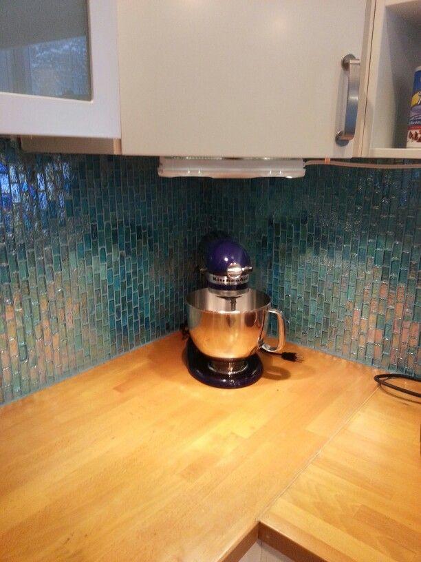 Turquoise glass tile backsplash  Tile  Pinterest