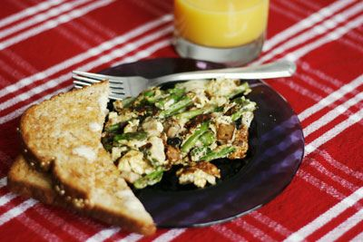 Mushroom, Asparagus and Swiss Scramble