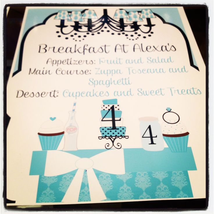Pin by michelle mcleod on breanna party ideas pinterest for Breakfast at tiffany s menu