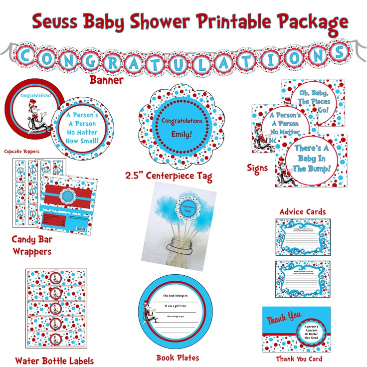 instant download dr seuss baby shower printable hybrid package red