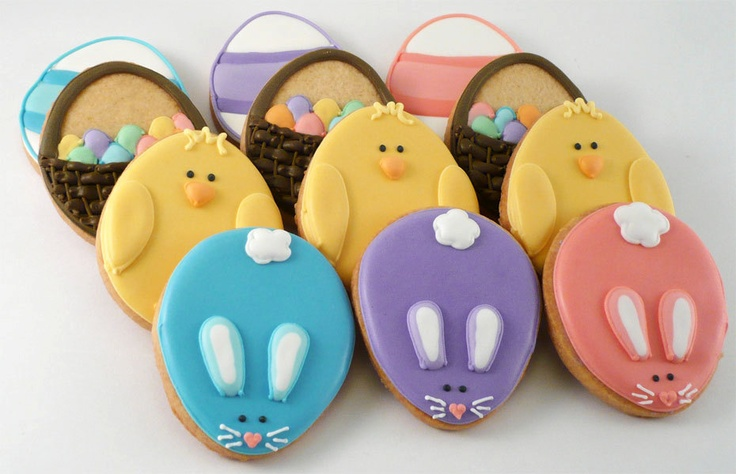 Chicks, bunnies, baskets all made from Easter egg cookie cutter