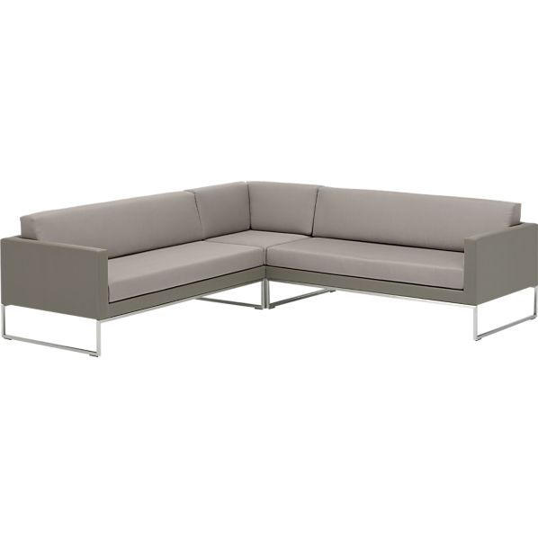 Dune 3 piece sectional sofa with sunbrella taupe cushions for Sofa abel 3 cuerpos tela taupe