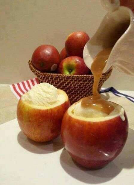 Honey-Caramel Ice Cream Sundaes With Apples Recipes — Dishmaps