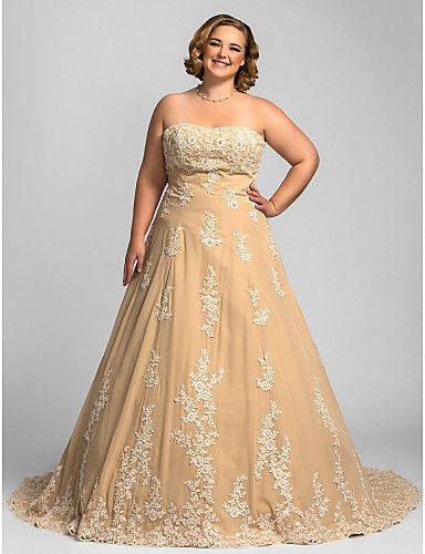 Wedding Dresses USD 99 : Plus size a line strapless chapel train chiffon wedding