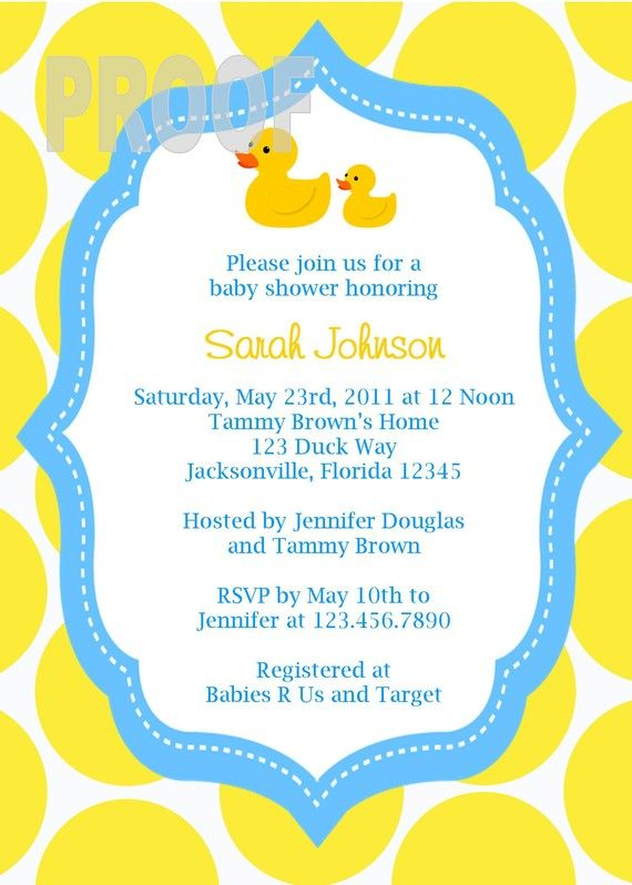 adorable rubber ducky custom baby shower invitation