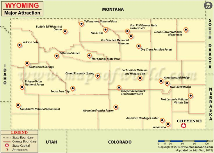Wyoming Travel Attractions Map Road Trip Anyone Pinterest