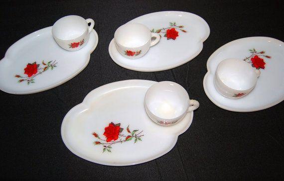 Vintage Red Rose on Milk Glass Serving Set by CheekyVintageCloset, $32.00
