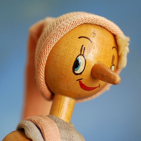 Adorable vintage wooden doll pinocchio by coolvintage 17 50